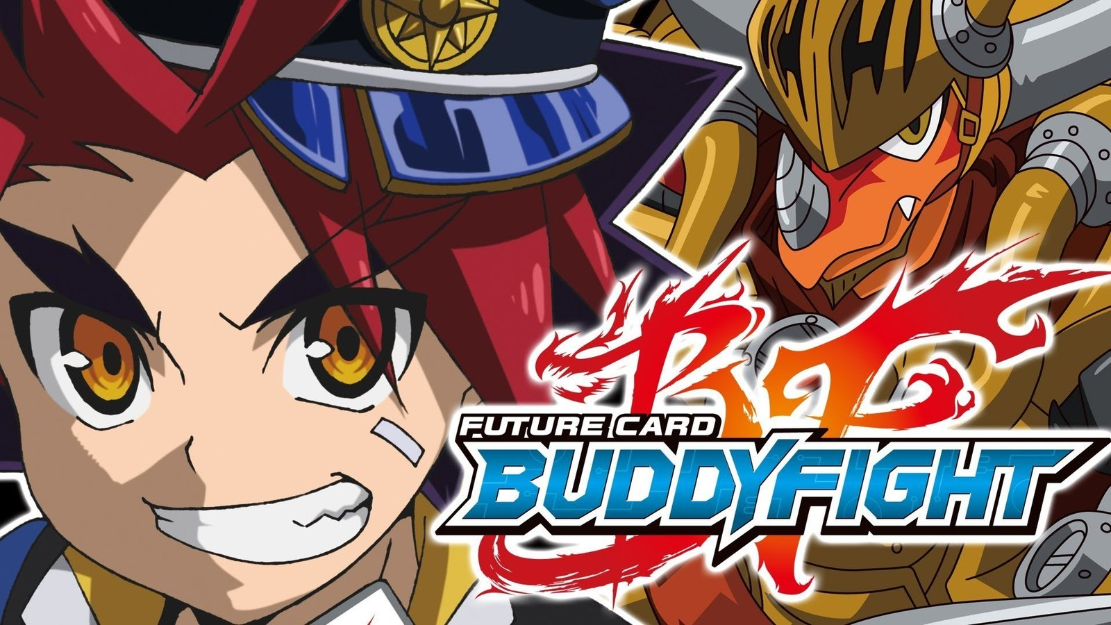 "Anime illustration of main character and show title ""Buddyfight"" logo on top of flaming initials F and B"