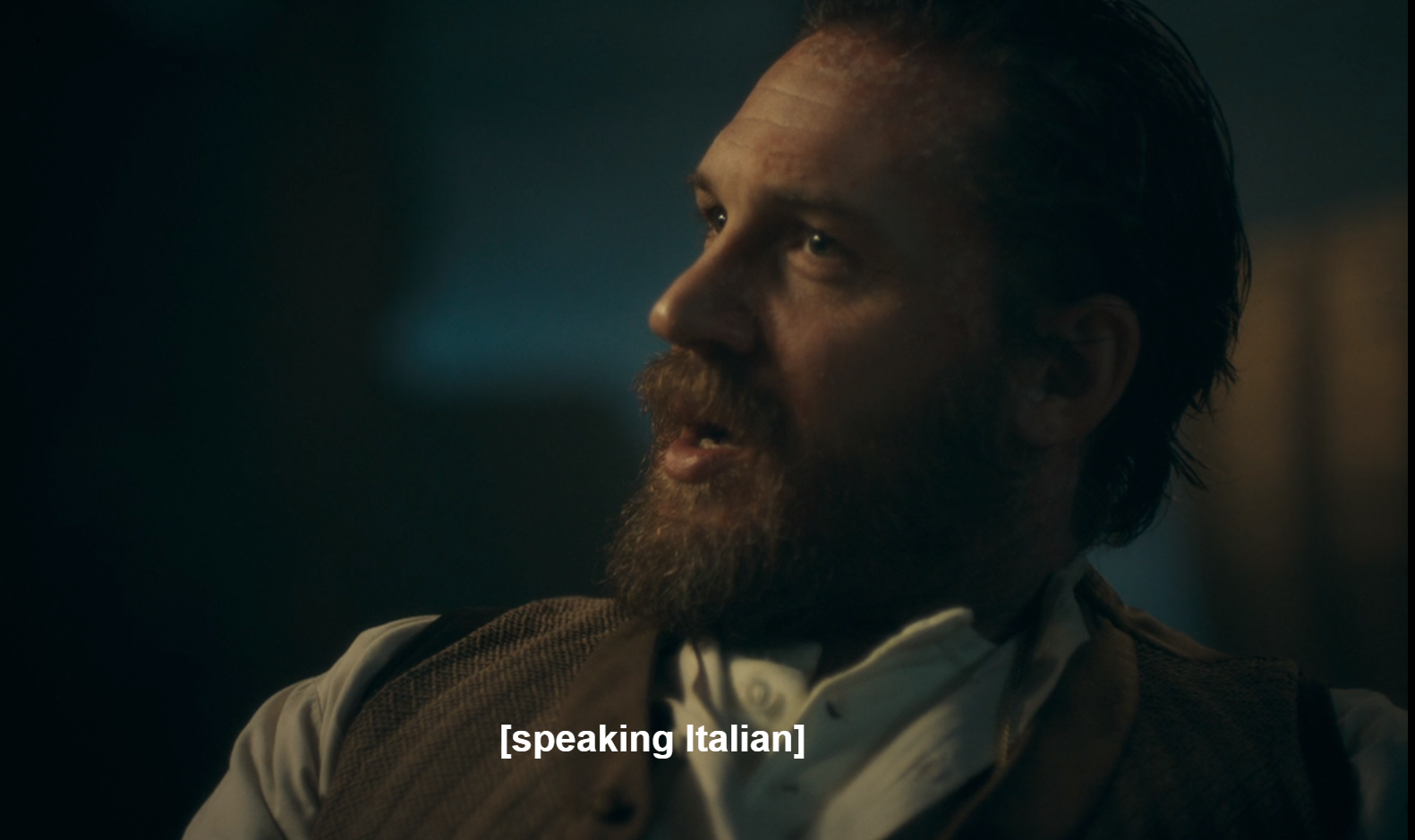 "Alfie Solomons in Peaky Blinders show is captioned as ""[speaking Italian]"""