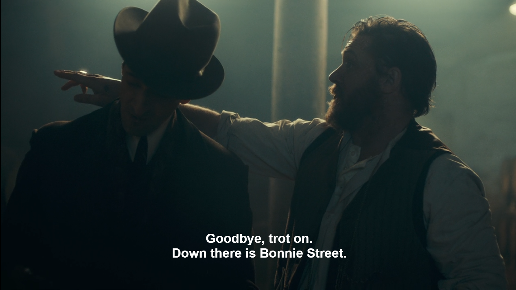 Screenshot of Alfie Solomons and Luca Changretta characters in Peaky Blinders show. The erroneous caption for Alfie says, Goodbye, trot on. Down there is Bonnie Street.