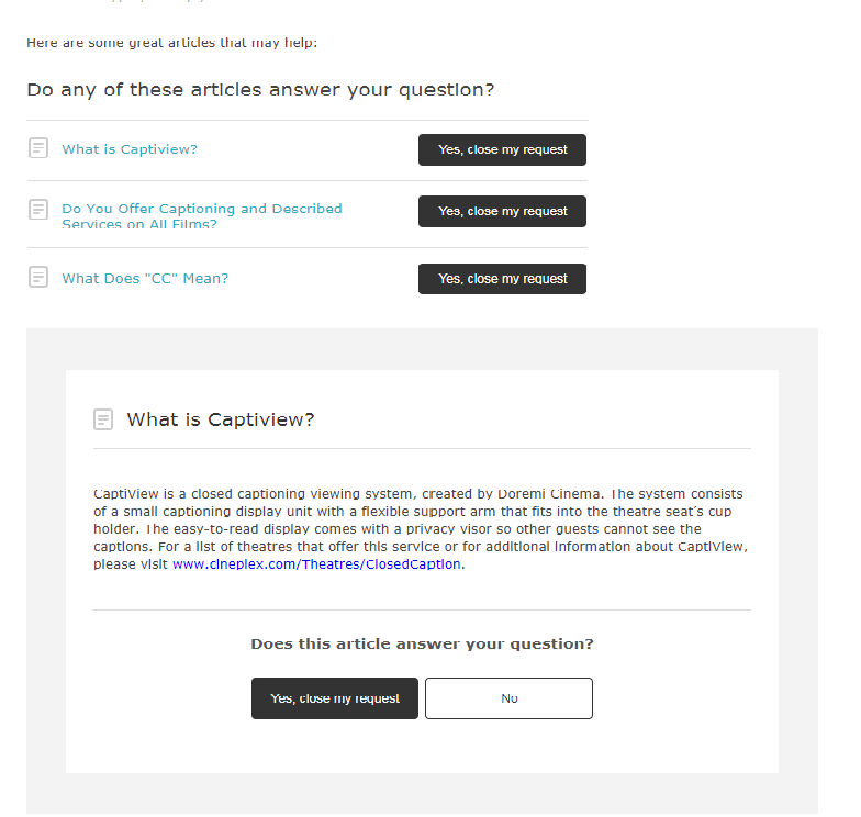 Screenshot of automated reply from Cineplex about caption options and how to access that information on their website
