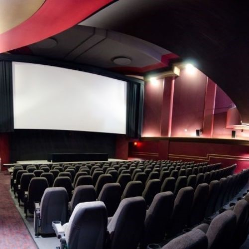 Interior photo of the auditorium of the Hot Docs Cinema in Toronto