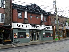 Exterior photo of the Revuew Cinema in Toronto