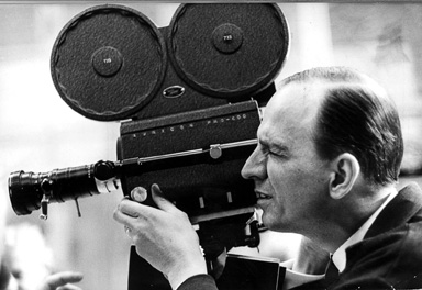 Side shot of Ingmar Bergman filming, black and white photo from Wikimedia Commons