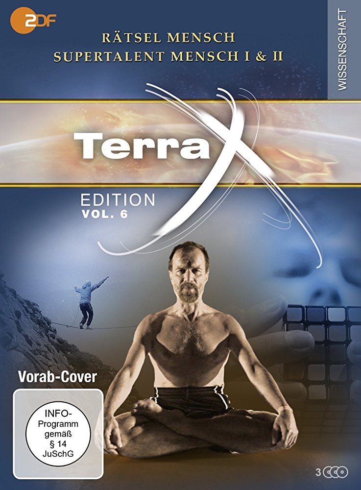 Promo photographic collage featuring the Terra X logo and a man sitting in a yoga pose.
