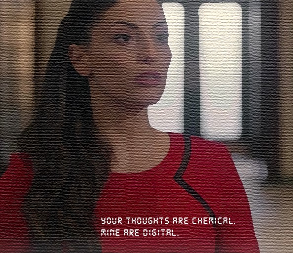 "Alie, AI, in The 100, a white 30s brunette woman with long hair over her right shoulder and to the front, wearing a red dress with a black accent, presented with custom creative font style by Sean Zdenek for her lines, ""Your thoughts are chemical. Mine are digital."""